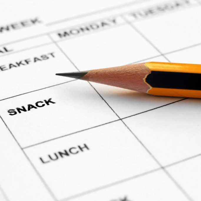 Close up of pencil on meal planner